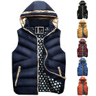 Sexy Mens Winter Warm Hooded Padded Vest Coat Tops Outerwear Thermal Zip Casual
