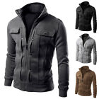 Mens Adults Slim Fit Stand Collar Cotton Blend Coat Winter Trench Warm Peacoat
