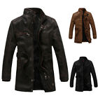 VINTAGE New Men's Casual Pu Leather Motorcycle Long Winter Jacket Overcoat S-2XL