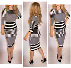Fb Womens Christmas Striped Bodycon Pencil Party Evening 3/4 Sleeve Midi Dress