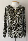 NWT MICHAEL KORS Womens Long Sleeve Blouse Leopard Print Top Duffle Green $99.50