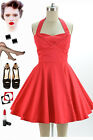 50s Style Solid RED TRAVELING CUPCAKE TRUCK Dress with HALTER Petal Bust