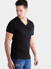883 Police Mens Short Sleeve V Neck Pure Cotton Basic Black Slim Fit T-Shirt