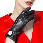 Women's Winter Black Driving Genuine Goatskin Leather Gloves For Ladies