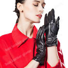 2015 Women's Black Fashion Winter Warm Driving Genuine Leather Gloves For Lady