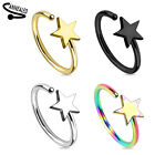 "20g 5/16"" Star Gold Black IP Surgical Steel Nose Hoop Ring Bend Twist To Fit"