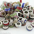 New Double Circle Crystal Big Hole European Spacer Loose Bead For Charm Bracelet