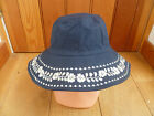 MONSOON ACCESSORIZE NAVY BLUE WIDE BRIM SUNHAT WITHWHITE FLOWER EMBROIDERY NEW