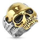 Large Steel Men's Ring with Plated Gold Skull 1492