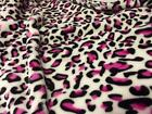 Double Sided Supersoft Cuddlesoft Fleece Fabric Material - CERISE LEOPARD
