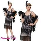 Ladies Flapper 20s 1920s Chicago Gangster Fancy Dress Costume Sequin Full Outfit