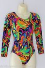 Leotard Long Sleeve Funky Psychedelic Pattern KIDS 4,6,8,10,1​2,14 Dance Gym Cal