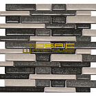 """Crackled Glass Mosaic Tile, """"Elements Collection"""" CGM 5204 - Zinc, Mixed Strips"""