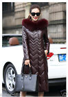100% Real Fox Fur Lamb Leather Long Coat Sheep Leather Jacket Outwear Warm Gift