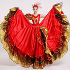 Red Flame Opening Dance Wide Flare Dress Large Full Skirt Stage V Neck Costume