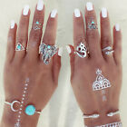 6pcs Boho Vintage Turquoise Elephant Animal Ring Set Midi Finger Knuckle Rings