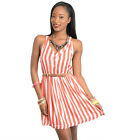 Coral and White Stripe T-Back Mini Dress S M L