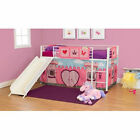 Girls' Twin Loft Bed with Slide FairyTale,  Princess Castle,  White Bunk Ladder
