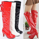 NEW Women's Synthetic Leather High Heel Knee High Boots Shoes All Size Plus Size