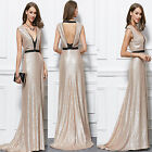 New vneck champagne sequin long maxi formal cocktail party mermaid evening dress