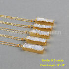 5Pcs Rectangle Titanium AB Natural Druzy Agate Bar Necklace Gold Plated GG0500-N