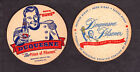 """2 Different Duquesne Pilsener Beer Coasters Pittsburgh PA - 3 1/2"""" One Sided"""