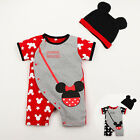 2PCS Baby Newborn Bodysuit+Hat Baby Kids Boys Girls Clothes Summer Suit Jumpsuit