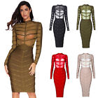Meilun Women's Beaded Long Sleeve Bandage Party Prom Evening Dress Four Colors