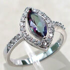 PRETTY 1 CT MYSTIC TOPAZ 925 STERLING SILVER RING SIZE 5-10