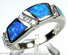 Blue Fire Opal Genuine 925 Sterling Silver Band Ring size 6, 7, 8, 9