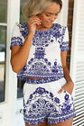 22294-Sexy Cute Blue Porcelain Print Crop Top with Matching Shorts Set-8-12