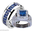 His and Hers Wedding Rings Sapphire Blue & Clear Cz Set Sterling Silver/Titanium