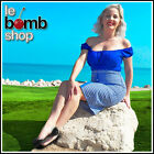 Blue GINGHAM CHECK Picnic PINUP 50s Style PENCIL Skirt with BUTTON Details &Slit
