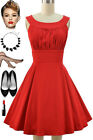 50s Style Solid RED Round Neck Bombshell PINUP Full Skirt Sun Dress