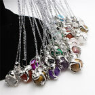 1X Natural Gemstone Crystal Agate Silver Frog Wrap Ball Healing Pendant Necklace