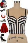 50s Style J.D. Bad Girl Leader of The Pack BLACK & WHITE STRIPE Bustier Crop Top
