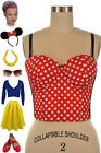 50s Style Leader of The Club RED & WHITE POLKA DOT Dapper Day Bustier Crop Top