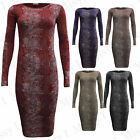 Womens Animal Snake Print Ladies Celeb Long sleeve Round neck Bodycon Dress 8-26