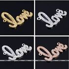 1x Crystal Love Shaped Side Way Bracelet Connector Pendant Charms Beads Finding