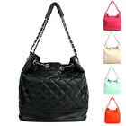 NEW Women's Ladies Quilting Silver Chain Faux Leather Shoulder, Tote Bag Purse