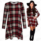 Women Ladies Celebrity Inspired Check Tartan Skater Flared Swing Dress Size 8-26