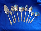 Vtg Rogers DAFFODIL Silver Plate Gravy Ladle, Pierced Serving Spoons Set CHOICE