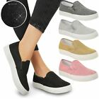 WOMENS LADIES SKATER GLITTER FLAT PUMPS SNEAKERS SPARKLE SLIP ON CASUAL SIZE