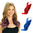 Elastic Rubber Band Hair Extension Long Wavy Curly Blue/Red/Purple Hairpiece