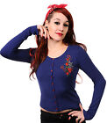 NEW BANNED BLUE NAUTICAL1950S ROCKABILLY RETRO VINTAGE GOTHIC CARDIGAN 10-14