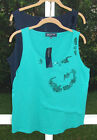 JONES NEW YORK SOLID GREEN - BLUE CASUAL SEQUIN COTTON SLEEVELESS TOP L XL NEW