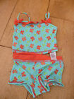 MARKS AND SPENCER AQUA RED BUTERFLY TANKINI BIKINI TOP BOTTOMS SET 12 18 MONTHS