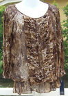 ANNE KLEIN BROWN MULTI ANIMAL PRINT CASUAL POLYESTER LONG SLEEVE BLOUSE S M NEW