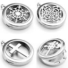 1pc Stainless Steel Round Aromatherapy Diffuser Magnetic Locket Pendant Necklace