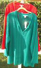 W.D.N.Y. SOLID RED OPEN WEAVE LONG SLEEVE COTTON TOPPER SWEATER PLUS 1X  NEW